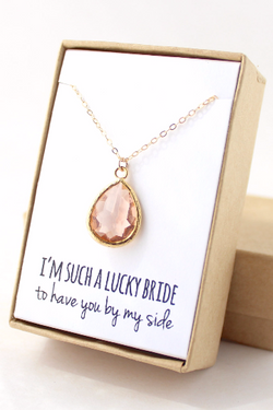 Gold Teardrop Necklace - Bridesmaid Gifts
