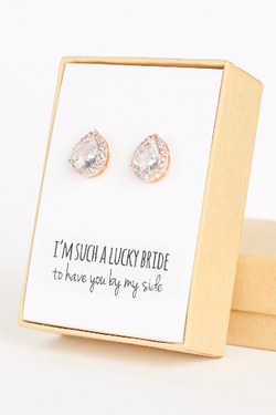 Cubic Zirconia Teardrop Stud - Bridesmaid Gifts