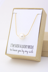 Swarovski Pearl Floating Necklace - Bridesmaid Gift