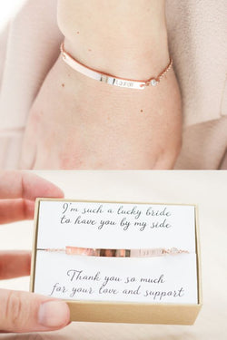 Rose Gold Bridesmaid Name Bracelet