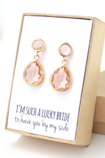 Peach / Gold Two Piece Teardrop Post Earrings
