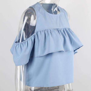Short Cold Shoulder Ruffle Top