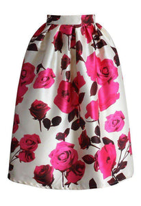 Pink Floral  Pleated Midi Skirt