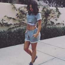 Load image into Gallery viewer, Casual Gray Two Piece Crop Top & Shorts Set