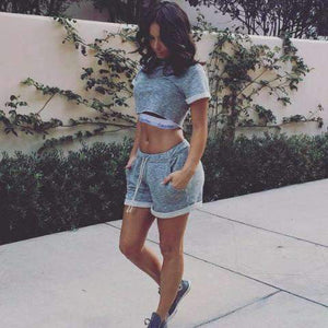 Casual Gray Two Piece Crop Top & Shorts Set