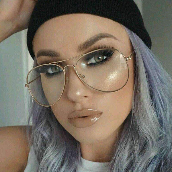 Gold Frame Glasses Tumblr : Clear Lens Aviator Glasses / Sunglasses StyleStacker