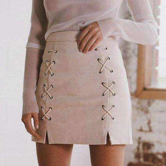 Criss Cross Lace Up Faux Suede Skirt
