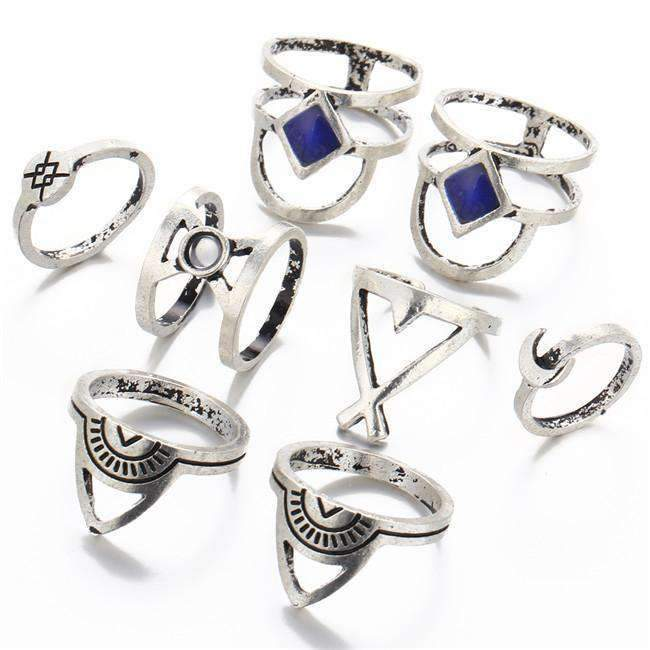 Silver & Blue Boho Midi Ring Set