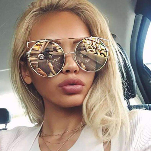 Oversize Round Mirrored Sunglasses
