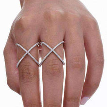 Load image into Gallery viewer, Criss Cross Cubic Zirconia X Cross Ring