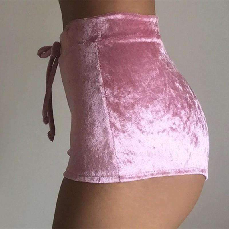 Velvet High Waist Skinny Shorts