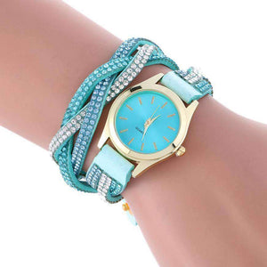 Leather Bracelet Watch with Wrap Around Pendant