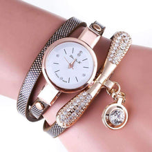 Load image into Gallery viewer, Leather Rhinestone Analog Stainless Steel Wristwatch