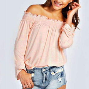 Solid Shirred Off-shoulder Top