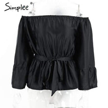Load image into Gallery viewer, Simplee Apparel sexy off shoulder ruffle bow blouse shirt Soft satin flare sleeve summer tops Elegant party women blouses blusas