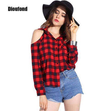 Load image into Gallery viewer, Dioufond Spring Red Plaid Off Shoulder Tops Shirts For Women Long Sleeve Blouse Sexy Blouses V Neck Women Tops Blusas Femininas