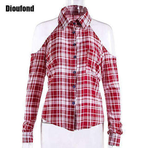 Dioufond Spring Red Plaid Off Shoulder Tops Shirts For Women Long Sleeve Blouse Sexy Blouses V Neck Women Tops Blusas Femininas