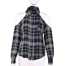 Load image into Gallery viewer, Cold Shoulder Plaid Blouse
