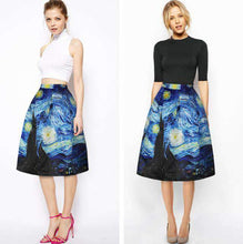 Load image into Gallery viewer, 3D Print London Eye Ferris Wheel Night Midi Skirt Long Knee-Length Pleated Skirt Mid-Calf Women's A-Line Tennis Skirts Navy Blue