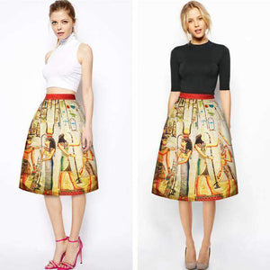 3D Print London Eye Ferris Wheel Night Midi Skirt Long Knee-Length Pleated Skirt Mid-Calf Women's A-Line Tennis Skirts Navy Blue