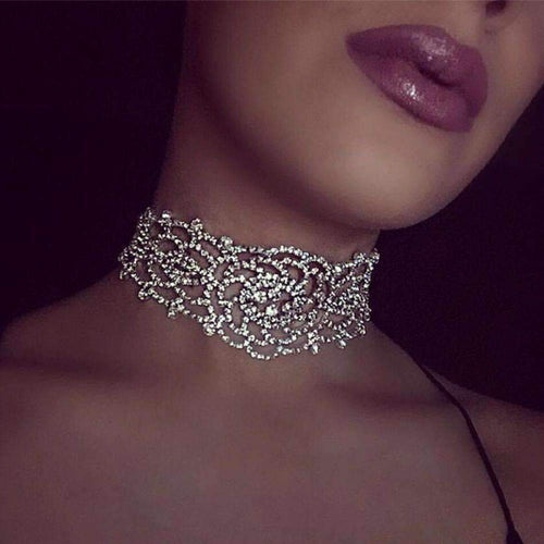 Hollow Rhinestone Crystal Choker Necklace