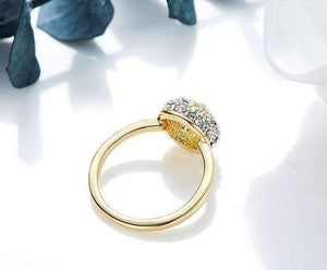 Gold Ring with Swarovski Crystals