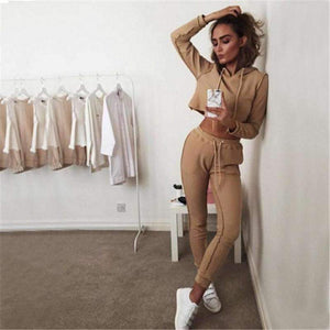 Cropped Hoodie Tracksuit 2 Piece Set Gray/Khaki