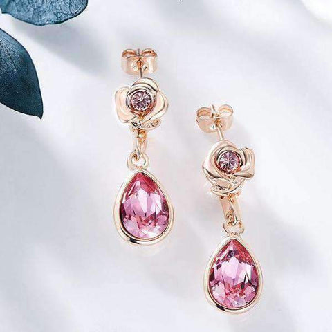 Image of Rose Design Earrings with Swarovski Crystals