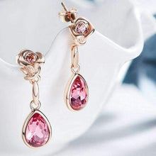 Load image into Gallery viewer, Rose Design Earrings with Swarovski Crystals