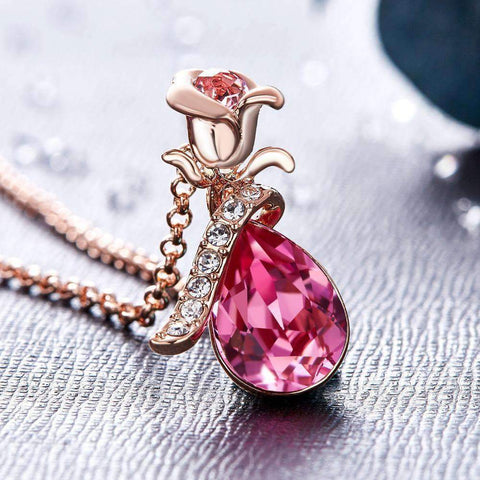 Image of Rose Design Pendant with Swarovski® Crystals