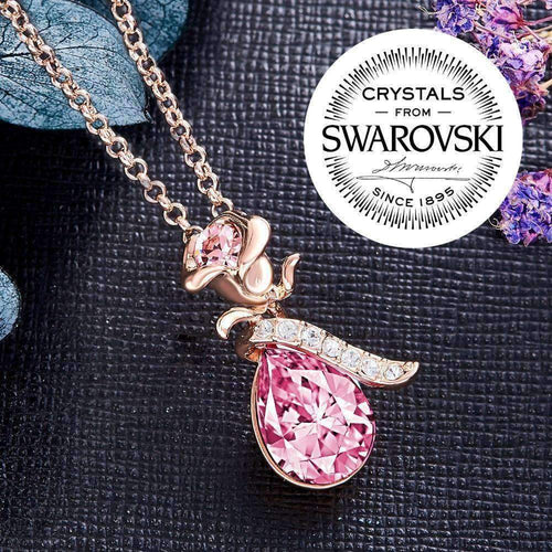 Rose Design Pendant with Swarovski® Crystals