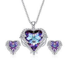 Load image into Gallery viewer, Heart Wings Pendant and Earrings with Swarovski® Crystals