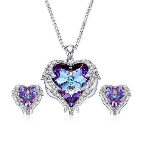 Heart Wings Pendant and Earrings with Swarovski® Crystals