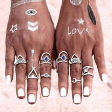 Load image into Gallery viewer, Silver & Blue Boho Midi Ring Set