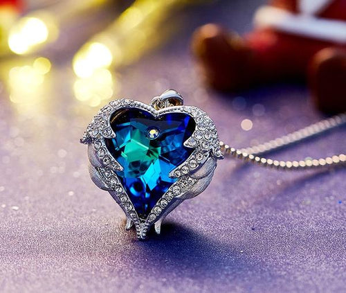 Sterling Silver - Heart Wings Pendant Swarovski® Crystal