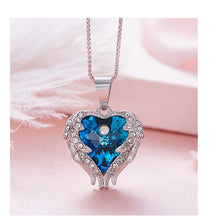 Load image into Gallery viewer, Sterling Silver - Heart Wings Pendant Swarovski® Crystal