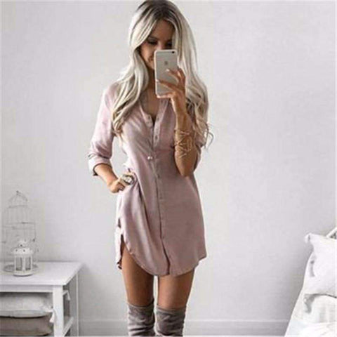 Image of Long Sleeve Casual Shirt Dress