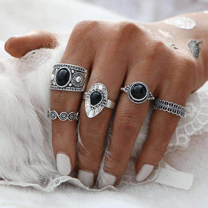 Black and Silver Ring Stack Set