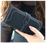 New Arrival Fashion Retro Matte Stitching Wallet Women Brand Long Purse Clutch Women Casual Hasp Dollar Price Wallet Handbag
