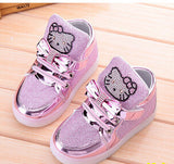 Children Shoes New Spring Hello Kitty Rhinestone Led Shoes Girls Princess Cute Shoes With Light EU 21-30