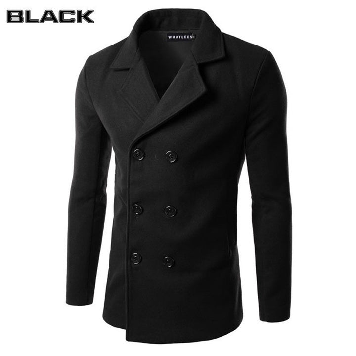 New Arrival Men's Casual Dust Coat Male Fashion Pure color Winter Keep Warm Trench Coat 6Color M-3XL