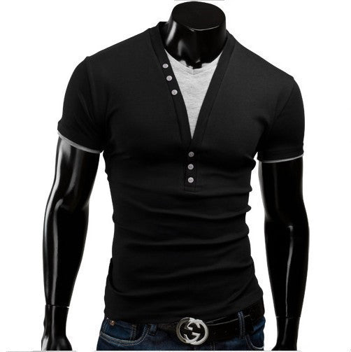 Fit Slim New Fashion Men T-Shirt combined T-Shirt V-Neck Casual Fashion Solid Leisure Suit Free Shipping 5 Color