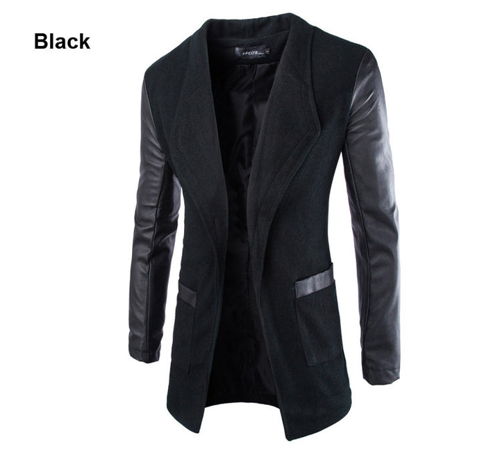 New Winter Fashion Leather Sleeve Long Wool Men Coat Hot Casual Slim Fit Men Jacket Coat Patchwork Solid Long Men Outwear