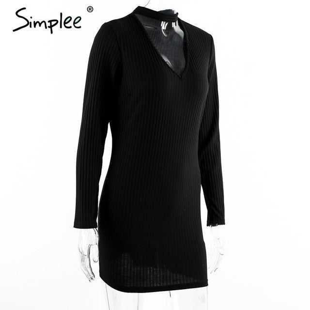 Simplee Apparel Autumn sexy halter knitted dress Women winter elegant bodycon dress Casual black vestidos short sweater dresses