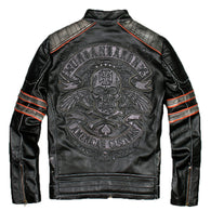 Men's Retro Vintage Men Motorcycle Leather Jacket Black Slim Skull Embroidery Pattern Cowskin  Biker jacket