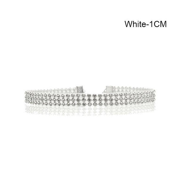 TREAZY Sparkling Full Crystal Rhinestone Choker Necklace for Women Wedding Bridal Collar Choker Chain Necklace Party Jewelry