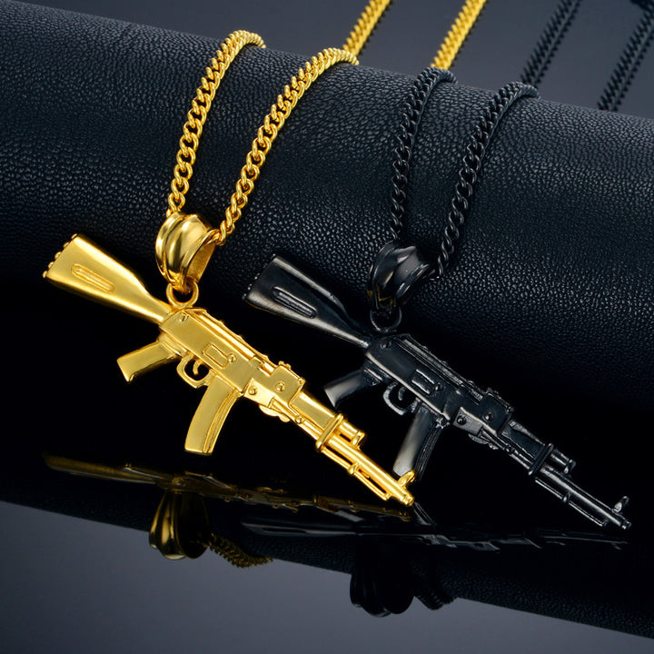 AK47 Necklace Vintage Men Women Jewelry Wholesale Black Gold Color Stainless Steel Gun Necklace with Hip Hop Chain