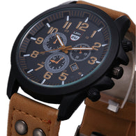 Business Quartz watch Men sport Military Watches Men Corium Leather Strap army wristwatch clock hours Complete Calendar