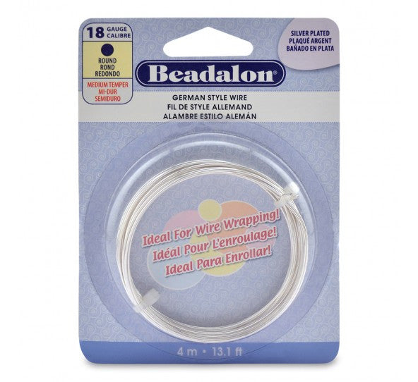 Beadalon German Style Wire, Silver Plated, 18 Gauge