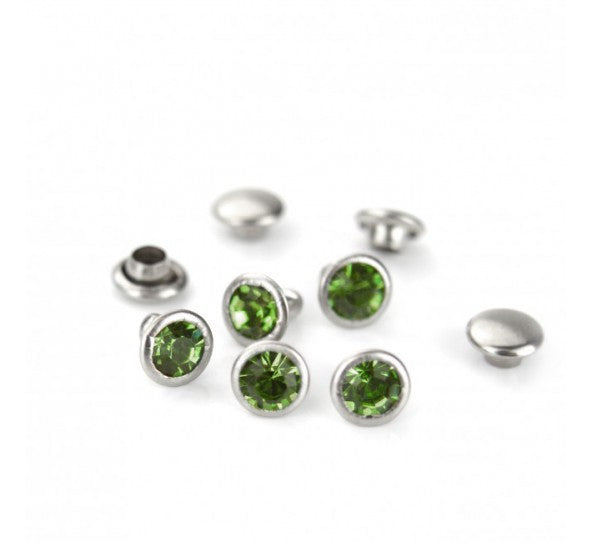 ImpressArt, Emerald, Czech Crystal Snap Rivets, Round, 50 pc - Press Metals